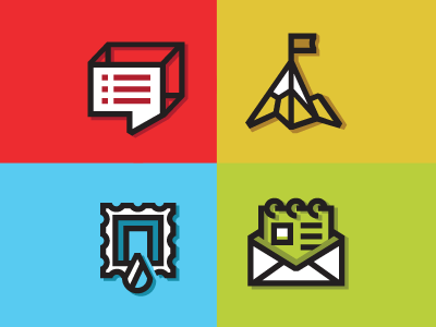 Brand Marks icons speech bubble mountain stamp letter rolodex