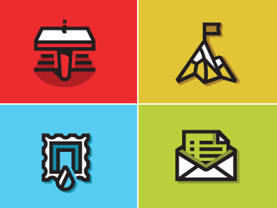 Brand Marks Redux icons speaker podium mountain flag stamp droplet water letter mail
