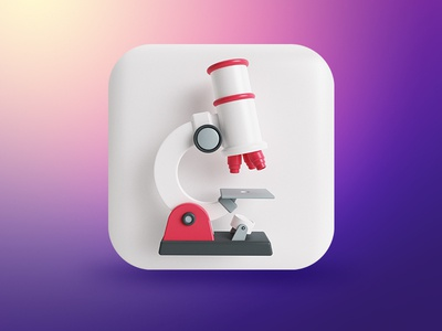 Microscope App Icon dribbblers iphone button 3d microscope icon app