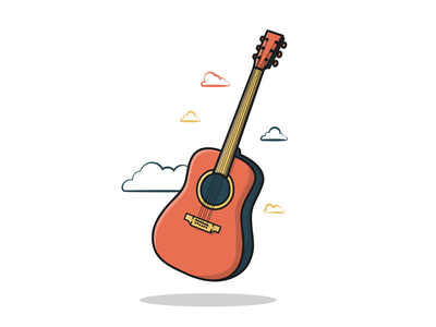 Guitar clouds guitar digitalart graphicdesign vectorillustration vector