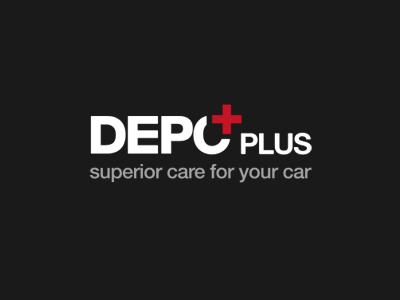 Depo Plus logo helvetica symbol dark clean auto