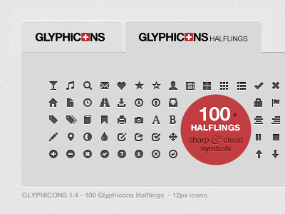 GLYPHICONS Halflings icons iphone ipad symbols monochromatic pictograms lion 12px