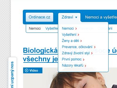 Ordinace.cz - redesign redesign white blue clean medical menu navigation