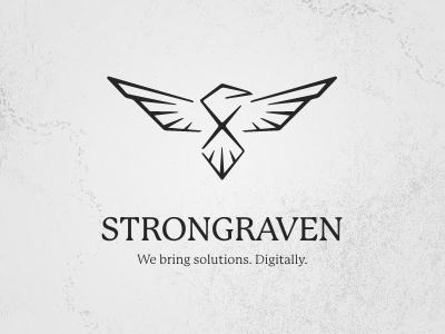 Strongraven logo raven black white texture digital solutions strong