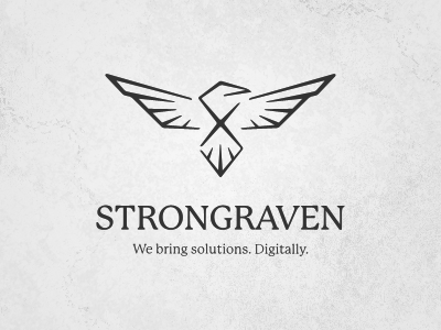 Strongraven (updated) logo white black digital raven solutions strong texture