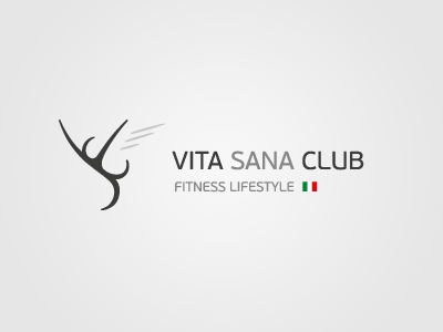 Vita Sana Club  logo simple gray black white green red clean symbol fitness lifestyle health