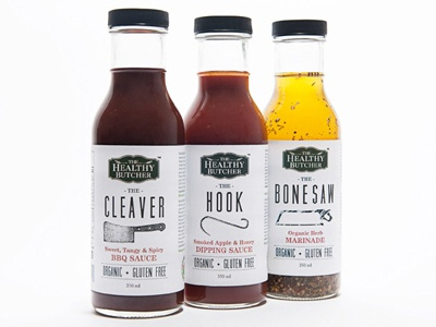 The Healthy Butcher Sauces  packaging design label branding sauces toronto bottles minimal modern food packaging design