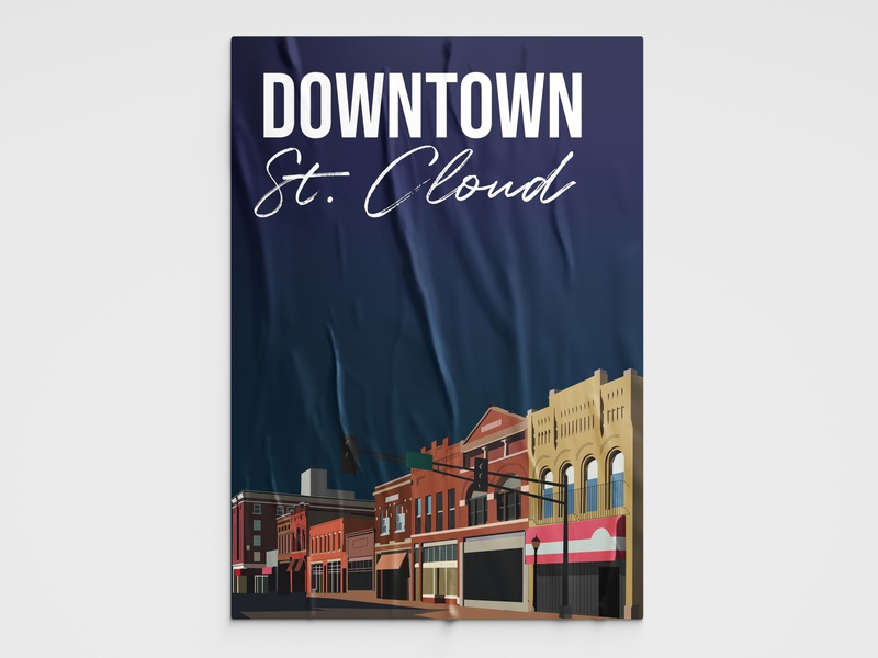 Downtown St. Cloud poster design poster illustration design