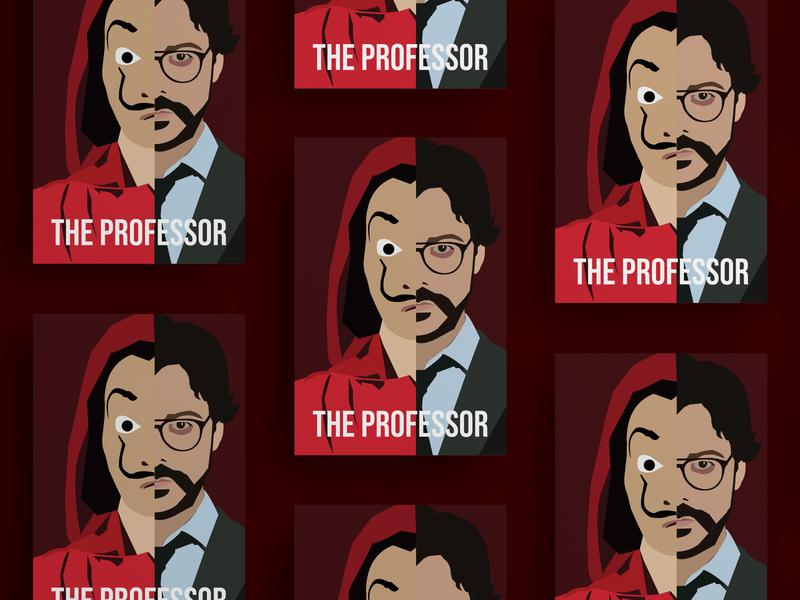 Money Heist: The Professor poster illustration vector design