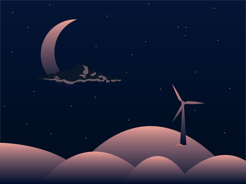 Ukiyo moonlight stars moon windmill vector illustration design