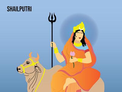 Shailputri india indian navratri vector illustration design