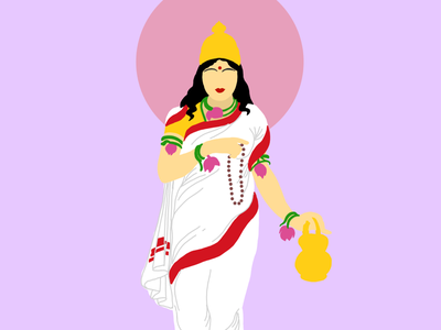 Brahmacharini illustration design art durga india navratri