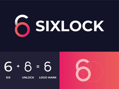 Sixlock Letter Mark logo - App Icon six unlock letter mark logo vector design minimal colourful logo grid logo concept creative geometry logo logo mark lettermark six lock icon modern app icon branding abstract 2d