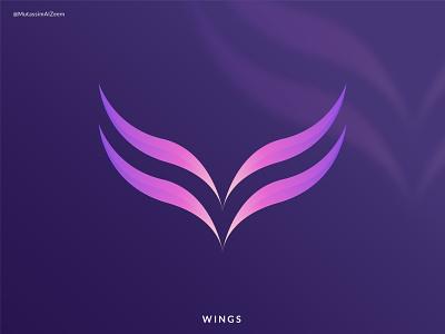 WINGS logo designer mutassim al zeem logo design 2021 pictorial mark logo abstract logo vector ui abstract logos flat app icon design branding logo logo design modern logo wings logo feather logo wings graphic design