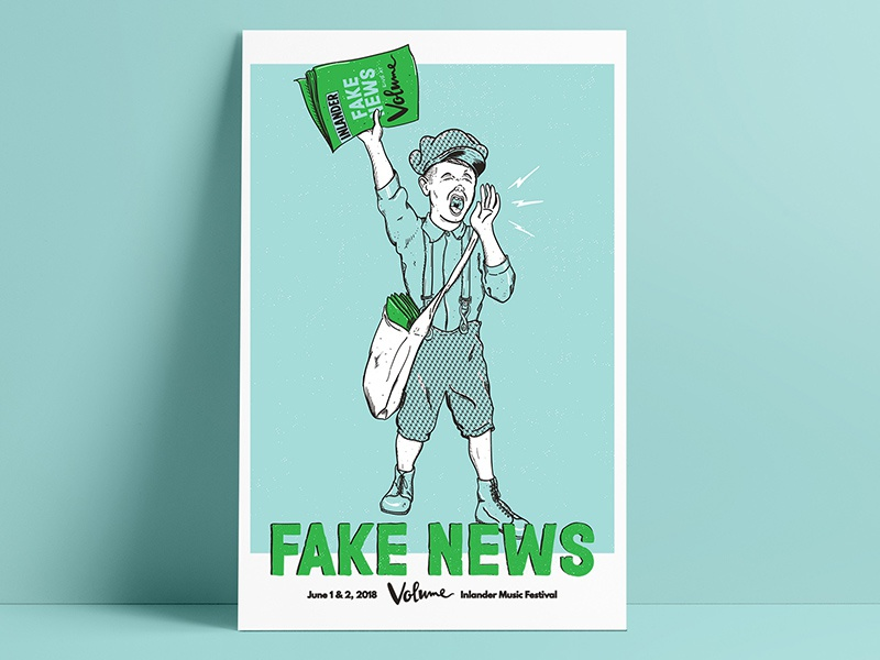 Fake News / Volume Poster yelling illustration newsie spokane fake news gig poster