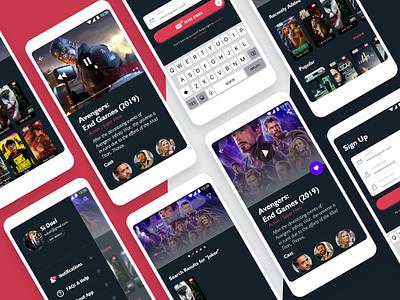 Movies Streaming App 📺 ux  ui dailyui films cinema app hollywood android app design android app design streaming app video film avangers uxdesign uiux uidesign ui app design app movie app movie