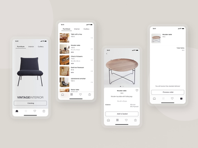 Vintage Interior iOS App vintage concept figma ios animation ux ui ecommerce minimal furniture app mobile app