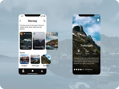Travel mobile app travel app norway travel icon mobile ux ui minimal design app