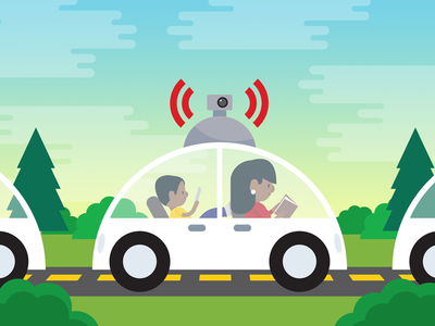 Driverless Cars: Cool or Dangerous? illustrator vector illustration