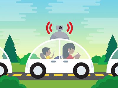 Driverless Cars: Cool or Dangerous? illustrator vector illustration