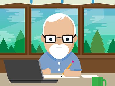 Writer character vector illustration