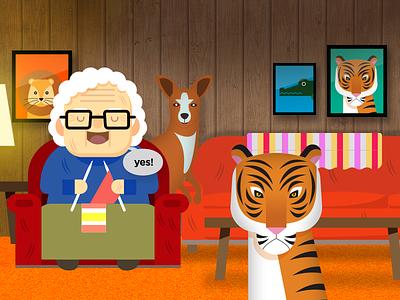 Grandma loves wild animals character vector illustration