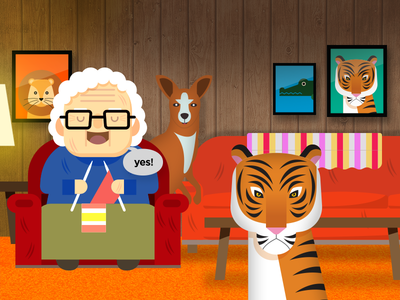 Grandma loves wild animals character vector illustration