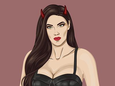 Demoness adobe ilustrator demoness demon векторный портрет портрет illustraion vector portrait character portrait