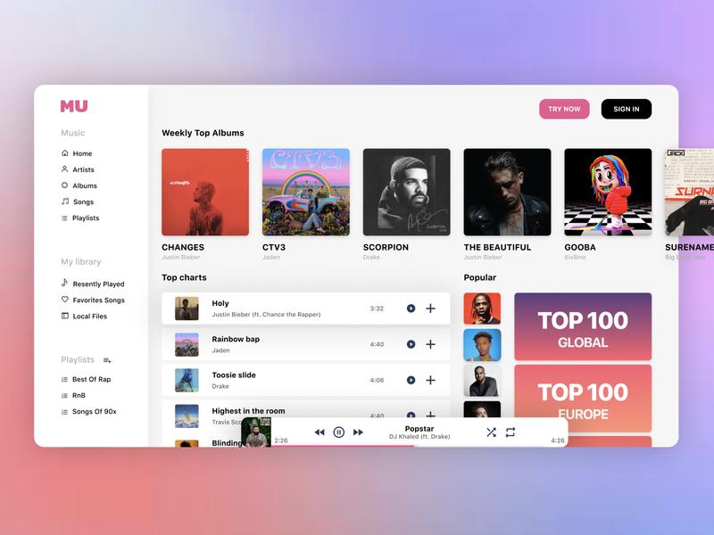 Music player - Web App apple music apple music visual art app web typography minimal illustration design ux ui