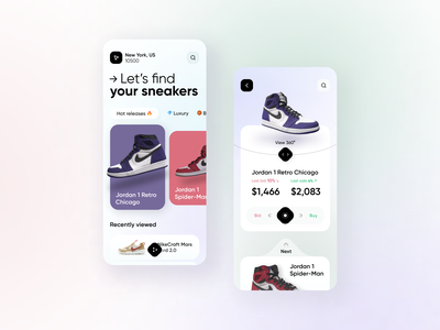 Mobile App - online marketplace animation 3d typography goat stockx sneaker marketplace mobile web ux ui minimal design