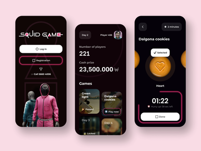 mobile app - player account squid game onboarding player dark theme product interface figma time tracker game series netflix web design ux squid game mobile app graphic design 3d ui