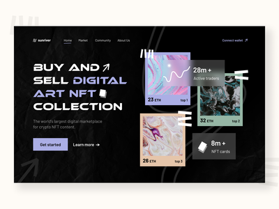 landing page - nft market cryptocurrency dark mode startup trade market vector typography cards minimal branding crypto nft web ux ui design