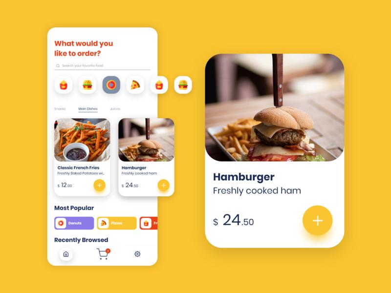 Food Order App in Adobe XD food app tutorial mobile app design app design madewithxd madewithadobexd