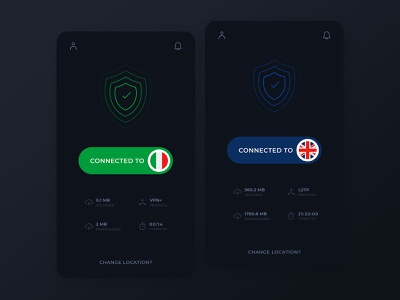 Connected - VPN Mobile App creative ux ui minimal dark mode app design adobe xd vpn app vpn connection connected