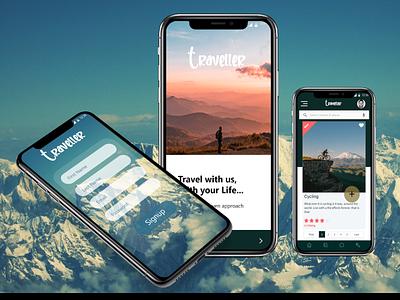 Traveller_app ui design xd design light app traveling