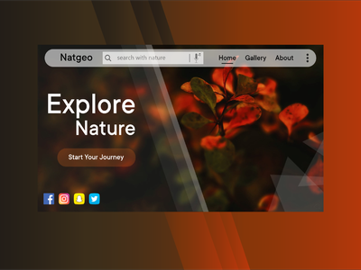 Nature Explorer prototype xd design photography natgeo simple design gallery web ui dark nature landingpage