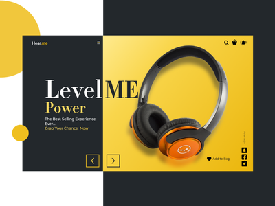 Music_Store uiux yellow landing page sound online store shop minimal xd dark ui store headset