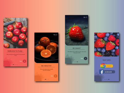 Organic Food Delivery Application simple minimal organic food colorful uiuxdesign xd welcome page delivery fruit food
