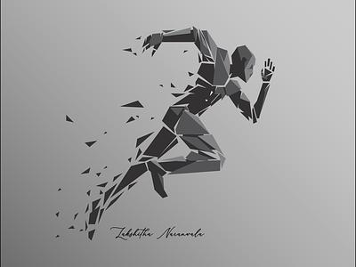 Running Man illustration art motivation monopoly dark ui startup winning vector illustrator