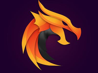 Dragon illustration art purple vectorart orange yellow dragon mascot vector illustrator