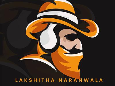 Listner simple mascot music logo orange vector illustration art illustrator