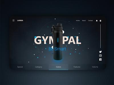 Bottle Web dark ui white icon landing page web ecommerce simple minimal gym water bottle xd dark
