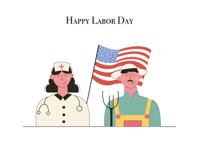 Happy Labor Day labor day illustration art vector bright colors minimal illustration