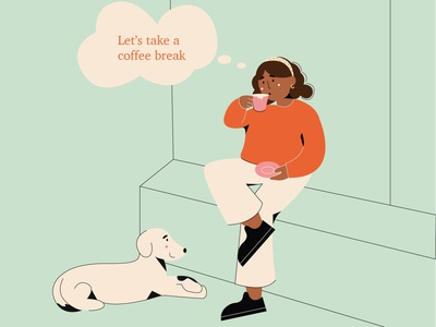 coffee break daily illustration coffee break doggy book illustration girl illustration illustration art minimal vector illustration