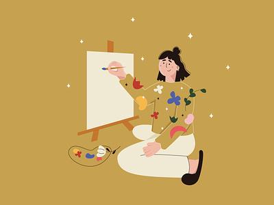 life is an Art design book illustration girl power illustrator girl illustration bright colors illustration art illustration vector minimal