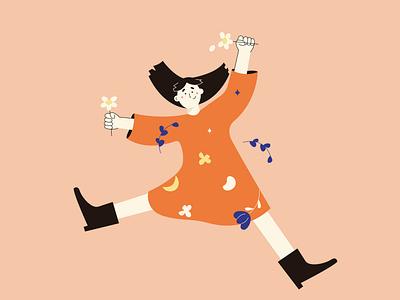 spring! characterillustration characterdesign graphicdesign girl illustration digitalart illustration art flatillustration 2dillustration vectorillustrator illustration