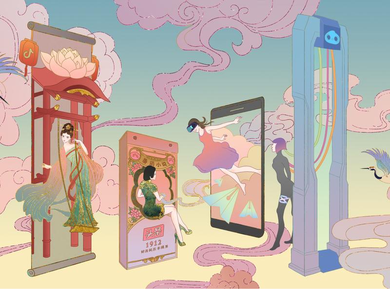 字节跳动-时间之旅 国潮 illustration 插画