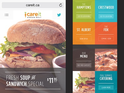 Mobile Centric Restaurant Website restaurant photography modular food deli modern minimal colorful icons clean website