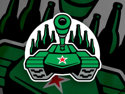 Tanks Hockey Crest vector branding logo emblem green hockey illustration perspective sports star tank