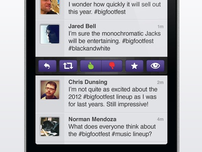 Zeel iPhone Interface iphone app twitter tweet ui interface mobile design purple